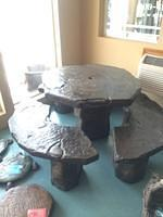 Rock Table Set with Two Benches